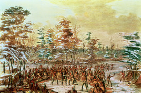 Bild-Nr: 31001711 De Tonty Suing for Peace in the Iroquois Village in January 1680, 1847-48 Erstellt von: Catlin, George