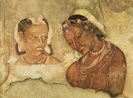 Bild-Nr: 31001781 A Princess and her Servant, copy of a fresco from the Ajanta Caves, India Erstellt von: Anonyme Künstler