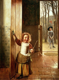 Bild-Nr: 31002127 Children in a Doorway with 'Golf' Sticks, c.1658-60 Erstellt von: Hooch, Pieter de