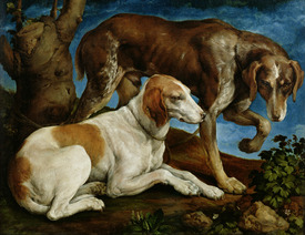 Bild-Nr: 31002557 Two Hunting Dogs Tied to a Tree Stump, c.1548-50 Erstellt von: Bassano, Jacopo (Jacopo da Ponte)