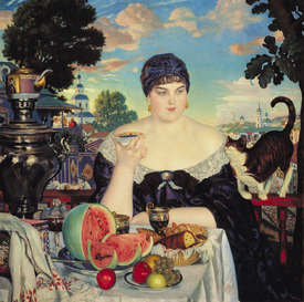 Bild-Nr: 31002605 The Merchant's Wife at Tea, 1918 Erstellt von: Kustodiev, Boris Mihajlovic