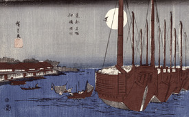 Bild-Nr: 31002617 Tsukudajima island and the Fukagawa district under the full moon, from the serie Erstellt von: Hiroshige, Ando