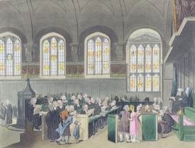 Bild-Nr: 31002636 Court of Chancery, Lincoln's Inn Hall, engraved by Constantine Stadler , 1808 Erstellt von: Rowlandson, Thomas