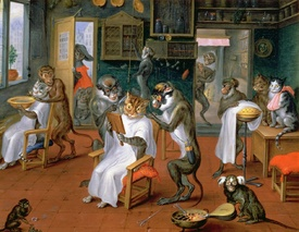 Bild-Nr: 31002683 Barber's shop with Monkeys and Cats Erstellt von: Teniers, Abraham