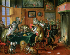 Bild-Nr: 31002684 The Smoking Room with Monkeys Erstellt von: Teniers, Abraham