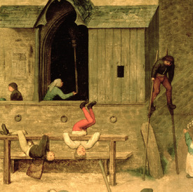 Bild-Nr: 31002831 Children's Games : detail of a boy on stilts and children playing in the stocks, Erstellt von: Bruegel, Pieter the Elder