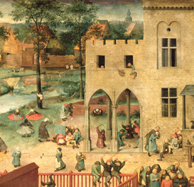 Bild-Nr: 31002832 Children's Games : detail of top left-hand corner showing children spinning tops Erstellt von: Bruegel, Pieter the Elder