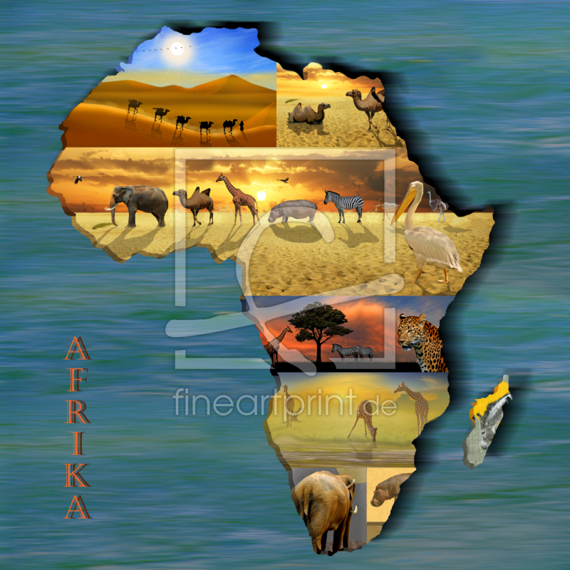 kontinent afrika collage als leinwand von mausopardia. Black Bedroom Furniture Sets. Home Design Ideas