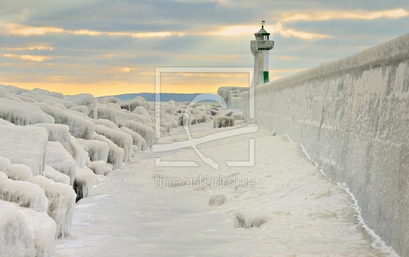 leuchtturm im winter als leinwand von sabine schmidt. Black Bedroom Furniture Sets. Home Design Ideas