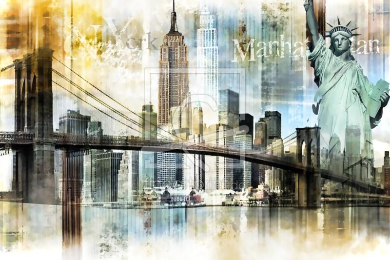 new york skyline abstrakt als leinwand von nettesart e. Black Bedroom Furniture Sets. Home Design Ideas