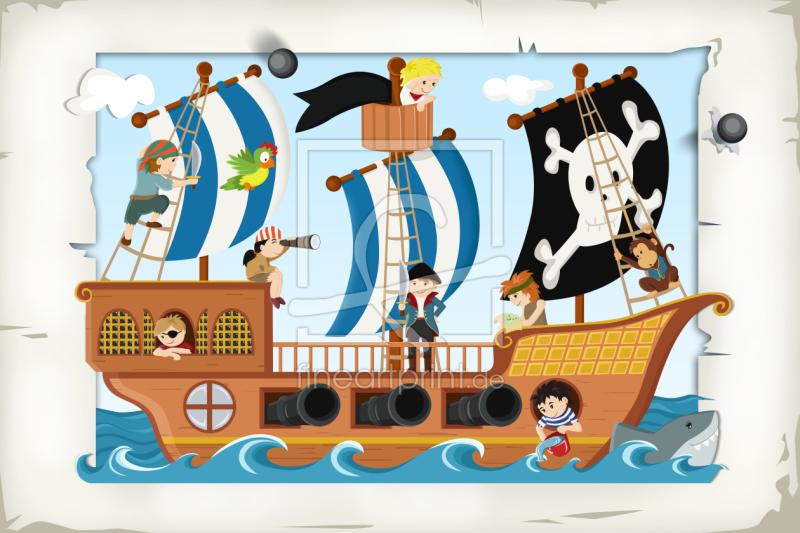 Piraten Und Piratenschiff Als Leinwand Von Michaela Hei