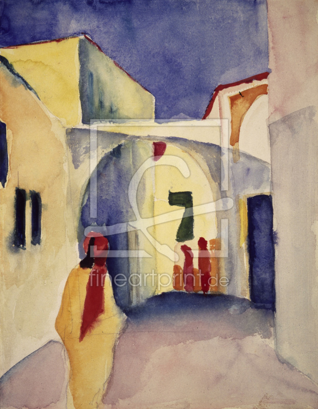 august macke lick in gasse in tunis als poster von ma. Black Bedroom Furniture Sets. Home Design Ideas