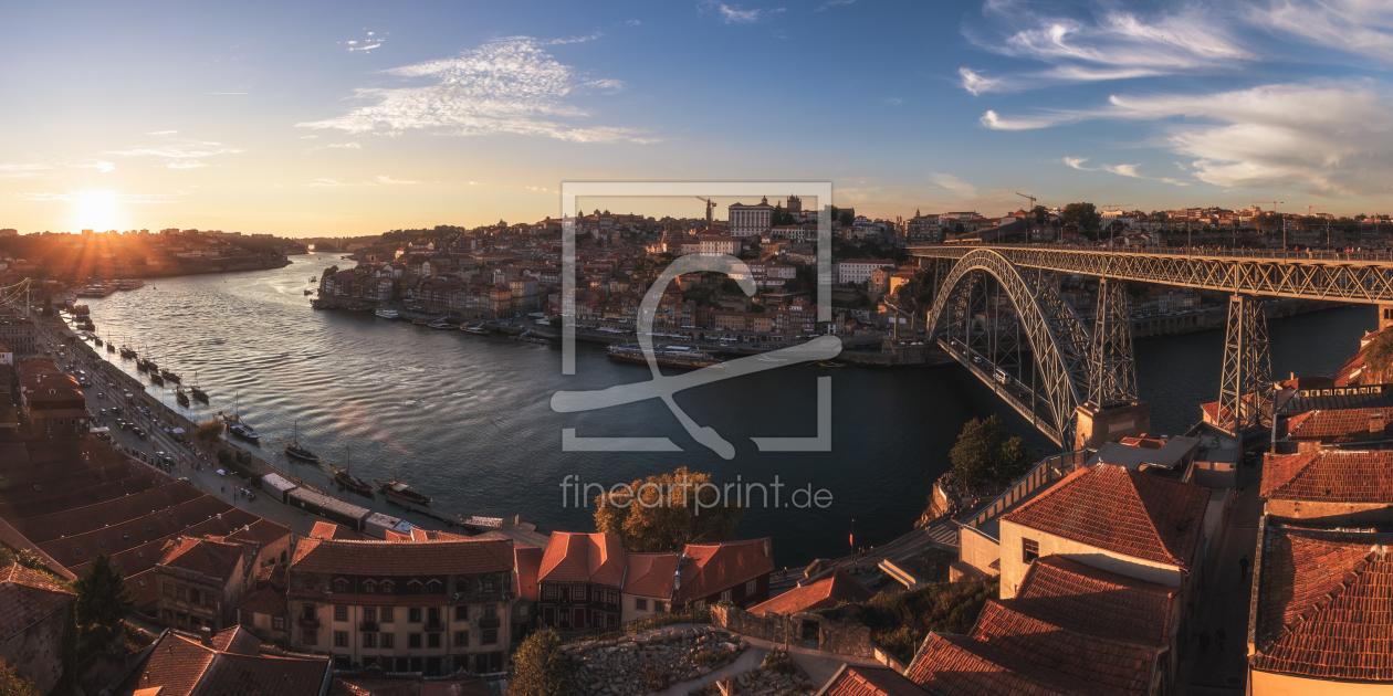 portugal porto panorama blaue stunde als papier von. Black Bedroom Furniture Sets. Home Design Ideas