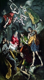 Bild-Nr: 31000593 The Adoration of the Shepherds, from the Santo Domingo el Antiguo Altarpiece, c. Erstellt von: Greco, El (Domenikos Theotokopoulos)